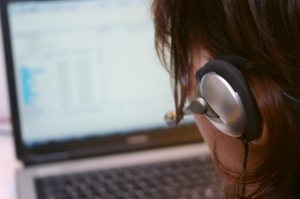 Image of person viewing webinar